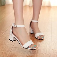 Ankle Strap Women Sandals Chunky Heel Pumps 5880