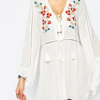 Glamorous Tall | Glamorous Tall Embroidered Skater Dress With Fluted Sleeve at ASOS