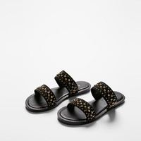 Studded Two-Band Sandals
