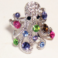 Octopus Ring, Dazzling, Steampunk, Vintage Jewelry, Costume Jewelry