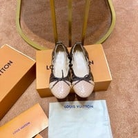 LV Louis Vuitton Women's Leather Flat Shoes