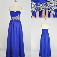 Custom Sweetheart Floor-length Chiffon Appliques Long Prom/Evening/Party/Homecoming/Bridesmaid/Cocktail/Formal Dress 2013 New Arrival
