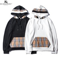Burberry 2018 autumn and winter new plaid stitching men and women models hooded hoodies