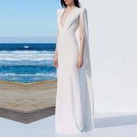 White Elegant Formal Bodycon Sexy Deep V Batwing Sleeve Ball Gown Maxi Dress