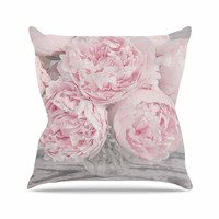 """Suzanne Harford """"Pink Peony Flowers"""" Floral Photography Outdoor Throw Pillow"""