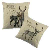 lovely deer print Home Decor Pillow Cushion Linen Cotton Coconut Trees Decorative Throw Pillows Free Shipping