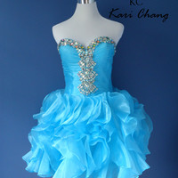 Kari Chang YL1447 In Stock Turquoise Size 4 Homecoming Short Prom Dress SALE