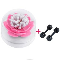 Top Plaza 1x Cotton Swab Holder with Tray/ Toothpick Box/ Container, Chic Lotus Design,Black/ White/ Green/ Pink (Pink)