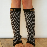 Chevron Crest : BROWN Chevron Leg warmers with assorted antique gold metal buttons (item no. 1-3)