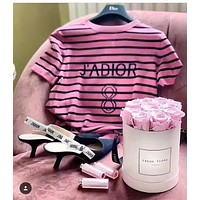DIOR JADIOR Popular Summer Women Personality Stripe Short Sleeve Round Collar T-Shirt Pullover Top Rose Red I-AA-XDD