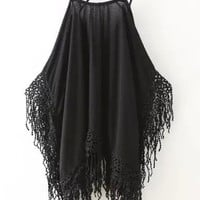 Black Strappy Tassels Cut-out Cami