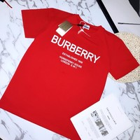 Burberry 2019 new men and women letters loose round neck short-sleeved T-shirt red