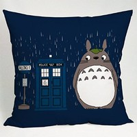 Dr Who Totoro Pillow Case (18x18 one side)