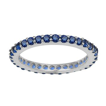 14K White Gold Natural Blue Sapphire Full Eternity Stacking Ring