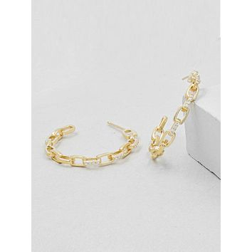 Paperclip Chain Hoops - Gold