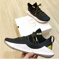 Under Armour UA CURRY 5 New Popular Men Leisure Low Top Sport Running Basketball Shoe Sneakers Black/Golden I-AHXF