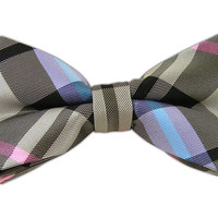 Wow Plaid - Black/Silver/Pink (Bow Ties) from TheTieBar.com - Wear Your Good Tie Everyday