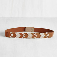 Boho Chevron the Right Path Belt in Cognac by ModCloth