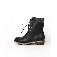 In the Woods Ankle Sweater Cuff Boots in Black