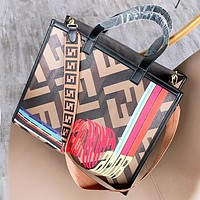 Fendi Fashion New Graffiti More Letter Leather Shoulder Bag Handbag Women
