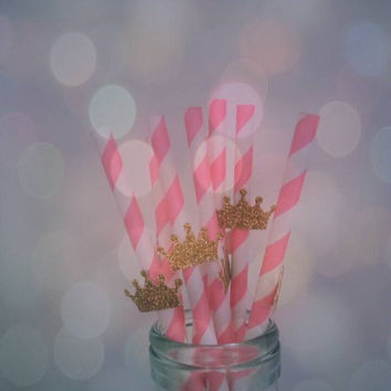 Little prince and princess straws. Birthdays. Specisl occasions. Bridal shower. Baby shower. First birthday paper straws