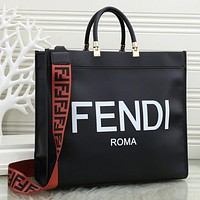 FENDI Women Fashion Leather Handbag Tote Crossbody