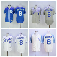 Kansas City Royals 8 Mike Moustakas Jersey Flexbase KC Royals Baseball Jerseys Gold with World Series Champions Patch Baby Blue Grey White