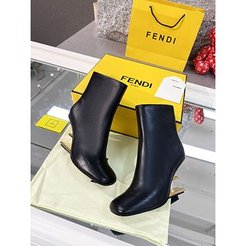 FENDI 2021 Trending Women's men Leather Side Zip Lace-up Ankle Boots Shoes High Boots10180wk