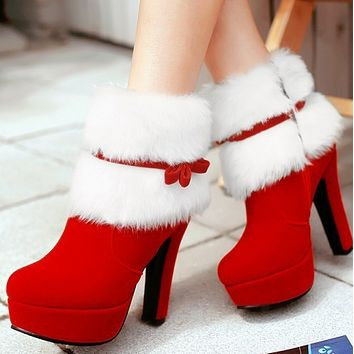 New hot sale short tube high heel round head plush high top snow boots