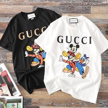 GUCCI Hot Sale Women Men Casual Mickey Mouse Print Short Sleeve T-Shirt Top