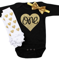Baby Girl First Birthday Outfit, Black, White & Gold 1st birthday ONE in Gold Heart | Gold Hearts Leg Warmers, Gold Sequin Bow on Headband