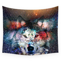 Society6 Wolf Universe Wall Tapestry