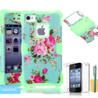 iPhone 4S Case ,iPhone 4 Case ,Tradekmk(TM)Unique Noctilucence In the Dark Soft Silicone Elegant Flowers Hybrid High Impact Bumper Hard Back Case Cover Fit For Apple iPhone 4 4S(Green),with Stylus Pen,Screen Protector and Cleaning Cloth