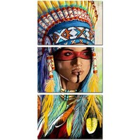 3 Panel Native American Indian Girl Feathered Feathers Canvas Wall Art Print