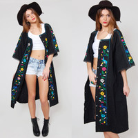 Vintage 70s MEXICAN Pin Tuck Jacket Black EMBROIDERED Ethnic Boho Duster with LACE Bell Sleeves