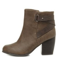 Belted Chunky Heel Ankle Boots by Charlotte Russe - Taupe