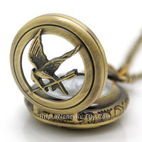 The Hunger Games Pocket Watch Necklace, Inspired Mockingjay Locket Necklace With Arrow in Antique Bronze