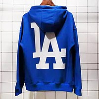 NY MLB Fashion Men Women Loose Print Long Sleeve Hooded Sweater Sweatshirt Top Blue