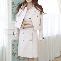 Apricot Wool Coat with Button Details