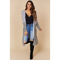 New Love Leopard Print Cardigan (Heather Grey/Ivory)