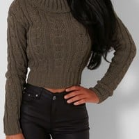 Kaley Khaki Cable Knit Cropped Jumper | Pink Boutique