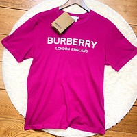Burberry New fashion letter print couple top t-shirt Rose Red