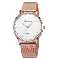 GENEVA Watches Womens 2018 New Brand Classic Quartz Stainless Steel Wrist Watch Bracelet Female Lady Watch relogio feminino A2