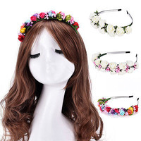 Boho Style Flower Floral Women Hairband Headband Crown Party Bride Wedding Beach