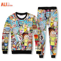 Rick And Morty 2 Pieces Set Men Women Hoodie+long Pant 3d Print Tracksuit