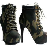 Compose 01 Women Stilettos High Heel Combat Lace UP Ankle Boots (6.5, Black)
