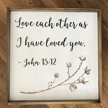 """""""Love Each Other"""" Sign with Cotton Stem"""