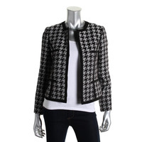 Kasper Womens Petites Enchanted Forest Houndstooth Open Front Collarless Blazer