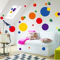 Colorful circle wall sticker bathroom kitchen 7158 decorative removable pvc wall decals home decor
