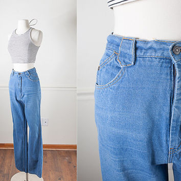 Vintage 1970s High Waisted Jeans 29 30 / Distressed Denim Jeans / Relaxed Fit Boyfriend Jeans Bell Bottom Pants Loose Fit Wide Leg 70s Jeans